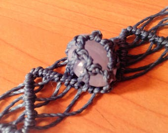 Bracelet macramé blue lace agate