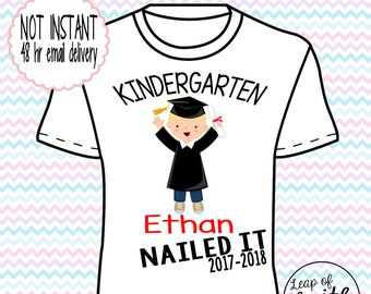 DIGITAL IMAGE: Nailed it Grad Boy Blonde Hair shirt with Name and Year