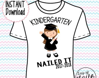 DIGITAL IMAGE: Kindergarten Nailed It Girl Brown Hair INSTANT download
