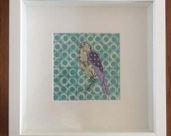Embroidered appliqué bird framed picture