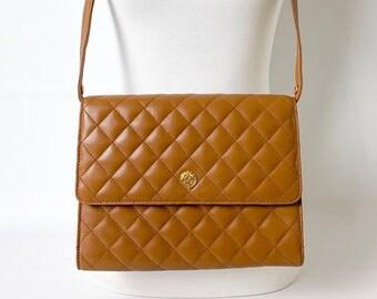 b32bb491d45b Vintage Quilted Leather Shoulder Bag Purse, Chanel Inspired Quilted Leather  Purse, Leather Envelope Handbag Clutch