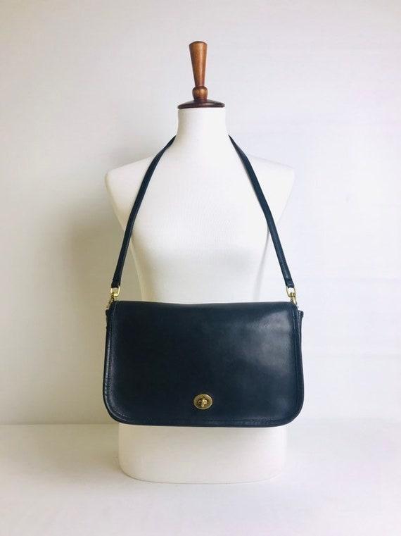 208077240ca1 70s Coach Navy Leather Shoulder Bag Leather Coach Purse 70s