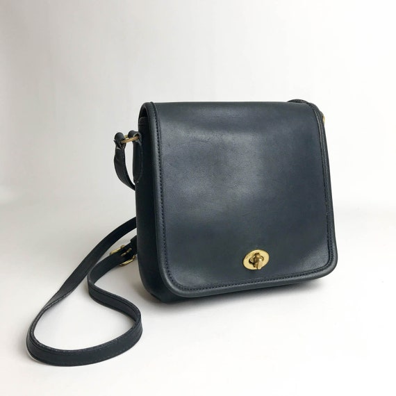 6930485e8a Navy Leather Coach Cross Body Bag Vintage Coach Bag Coach