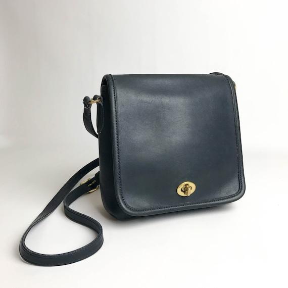 a6a2c243fc7 Navy Leather Coach Cross Body Bag Vintage Coach Bag Coach   Etsy