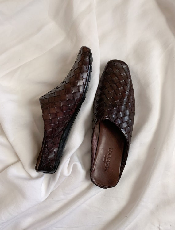 90s/Y2K Brown Woven Italian Leather Slip On Mules… - image 5