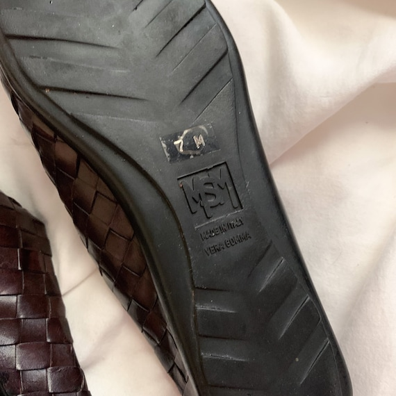 90s/Y2K Brown Woven Italian Leather Slip On Mules… - image 10