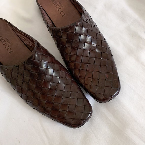90s/Y2K Brown Woven Italian Leather Slip On Mules… - image 2