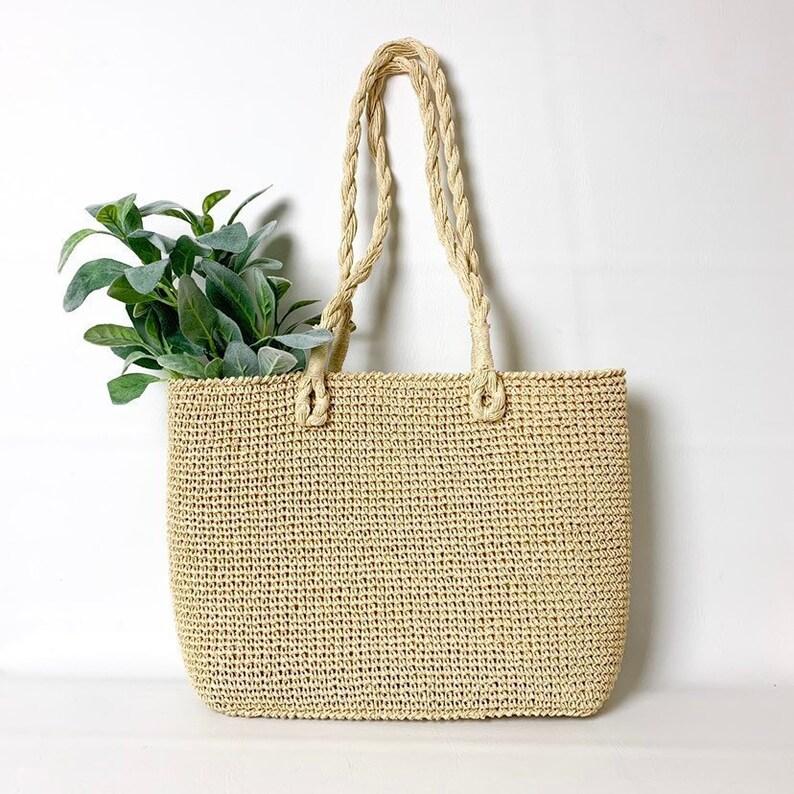 aa97201b7 Large Woven Straw Market Shopper Tote Bag Boho Woven Shoulder | Etsy
