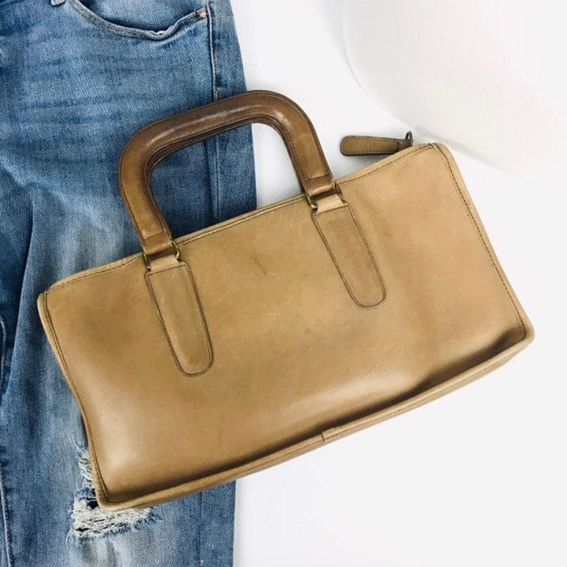 7243c88ebb51 70s Coach Top Handle Leather Handbag Vintage NYC Coach Bag