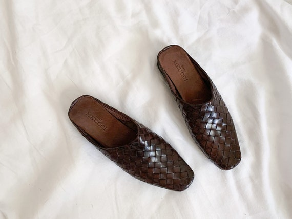 90s/Y2K Brown Woven Italian Leather Slip On Mules… - image 1