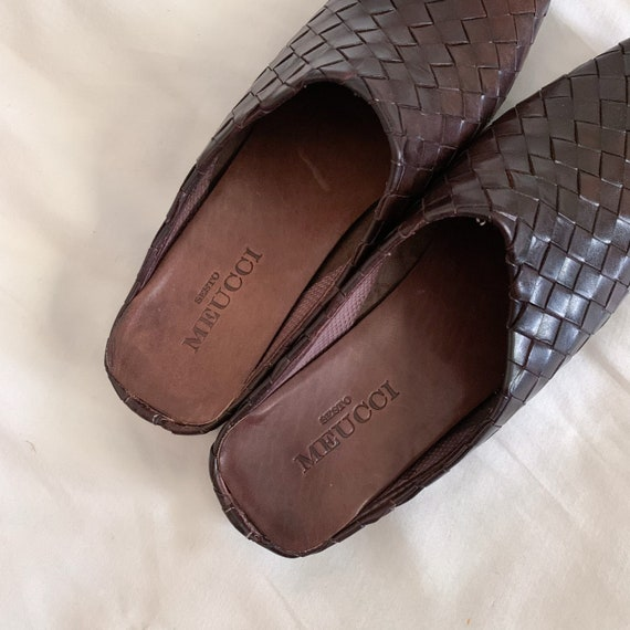 90s/Y2K Brown Woven Italian Leather Slip On Mules… - image 6