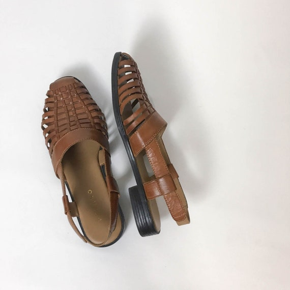 des années 90 en cuir Huarache fronde dos taille 7.5, cuir Huaraches, Huaraches femmes, sandales en cuir tressé, cuir marron, chaussures femmes 7,5