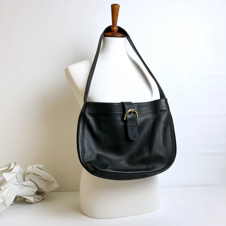 48a84c8befe8 RARE Coach Black Leather Shoulder Bag Large Leather Coach