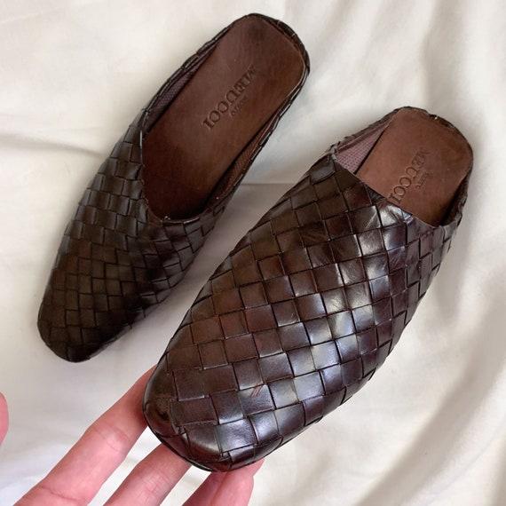90s/Y2K Brown Woven Italian Leather Slip On Mules… - image 8