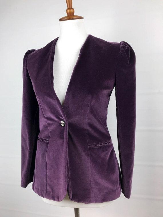 S Blazer Avec Vintage Veste Violet Poches En Etsy 70 Velours dH6Rnd