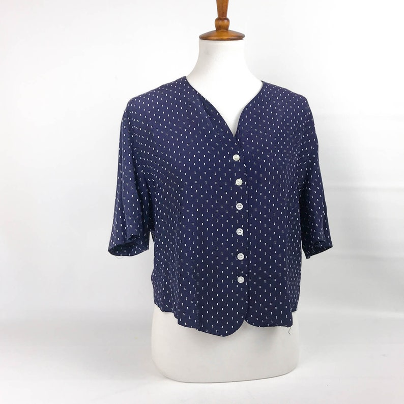 297c68c94 80s Navy Polka Dot Button Up Shirt Womens Size Small/Medium V | Etsy