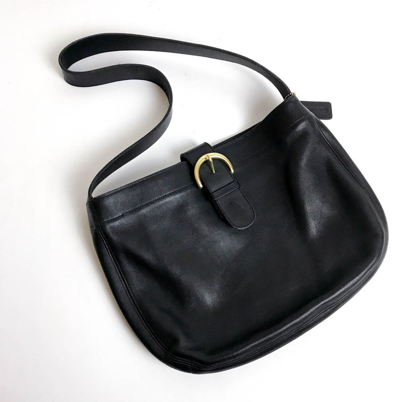 2ab166e6 RARE - Large Coach Black Leather Shoulder Bag, Large Leather Coach Purse,  Vintage Coach Bag, Designer Leather Bag, Coach 4166