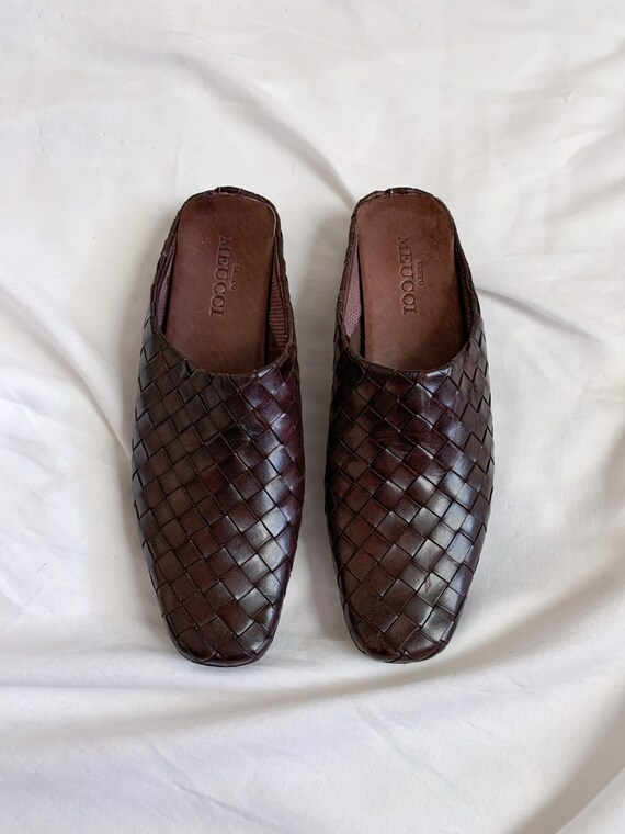 90s/Y2K Brown Woven Italian Leather Slip On Mules… - image 7