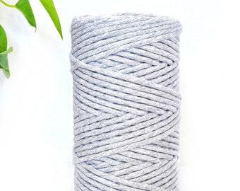 5ac5b4e81222 Cuerda Algodon-Cuerda Macrame-Color Gris-Cuerda de 3mm 500g 100 Metros por  Ovillo-Cotton Rope-Macrame Rope-Twisted Cotton Rope