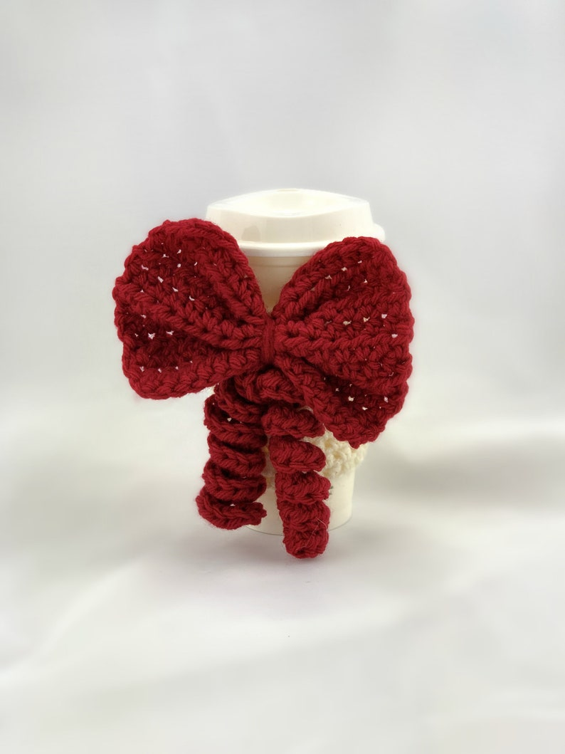 Cup Sleeve cream cup cozy with red bow image 0