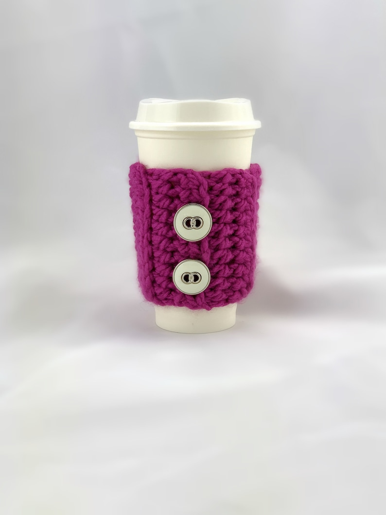 Cup Sleeve Hot pink fuschia cup cozy with white vintage image 0