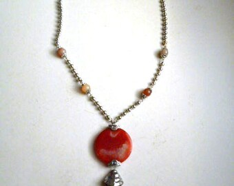 Silver necklace with inserts of semiprecious stones, length. 53 cm.