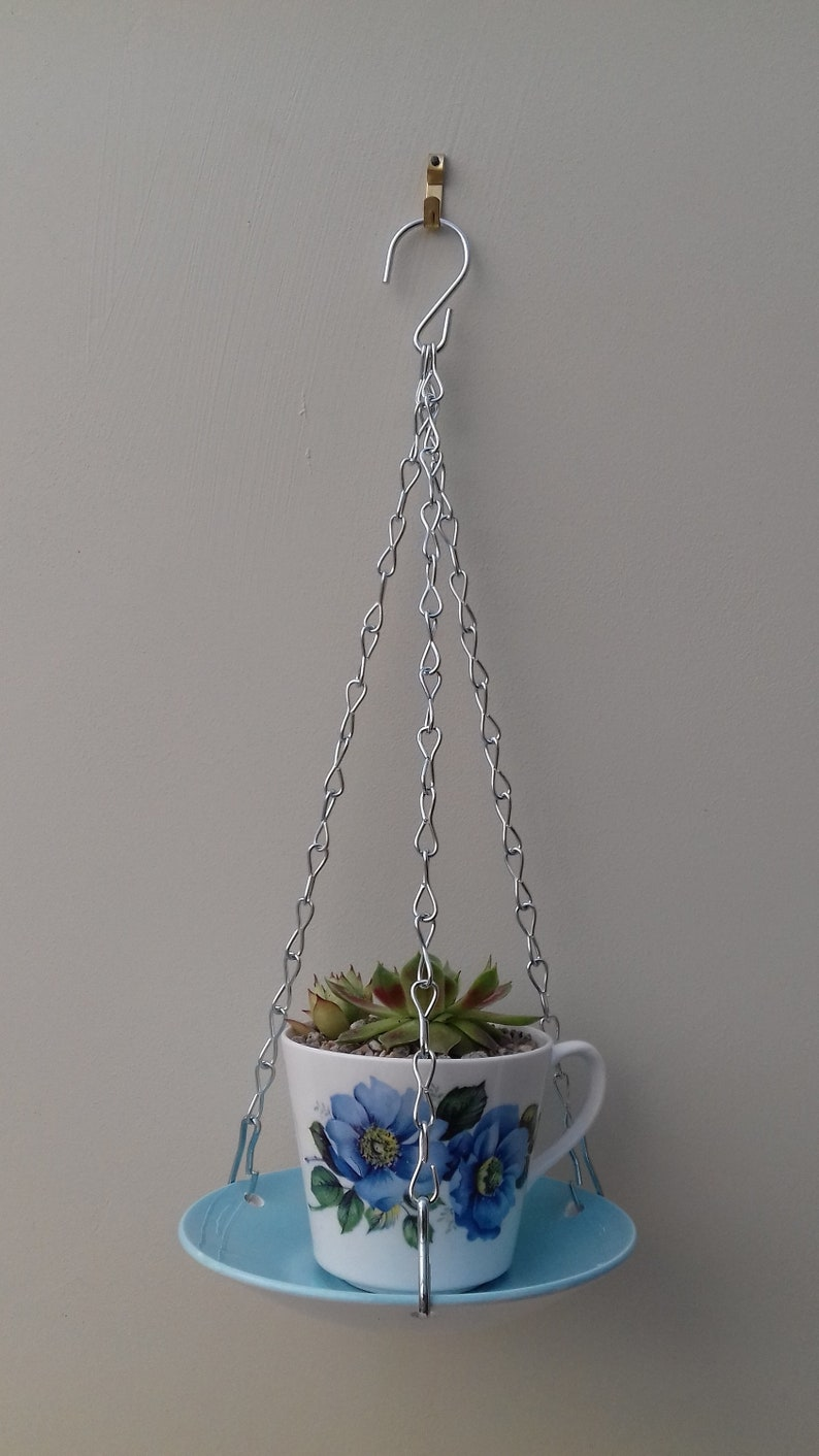 Made from vintage 60/'s tea cup and Meakin saucer Lovely ceramic indoor or outdoor tea cup hanging basketplanter