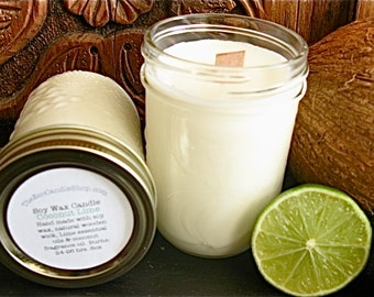 Coconut lime scented vegan soy wax candle in 8oz mason jar