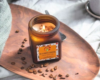 Coffee Spice Cake scented soy wax candle in Amber Jar & Cork lid 8oz