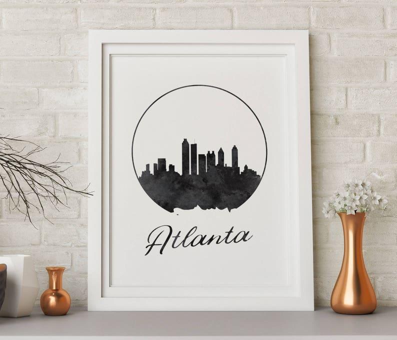 Watercolor Art Atlanta Skyline Cityscape Atlanta Poster Atlanta Print Atlanta Wall Decor Office Decor Georgia Art Atlanta Wall Art