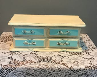 Vintage Ivory and Robins Egg Blue Jewelry Box