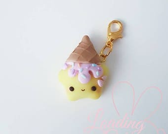 Cute Kawaii Glow in the Dark Dessert Girl Polymer Clay Charm/ Progress keeper/ Pendant / Planner charm / Rainbow Star Collection