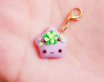 Cute Kawaii Glow in the Dark Princess Succulent Polymer Clay Charm/ Progress keeper/ Pendant / Planner charm / Rainbow Star Collection