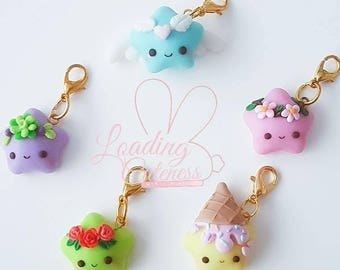 Cute Kawaii Glow in the Dark  Rainbow Star Polymer Clay Charm Collection/ Progress keeper/ Pendant / Planner charm