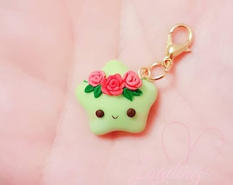 Cute Kawaii Glow in the Dark Rose Guardian Polymer Clay Charm/ Progress keeper/ Pendant / Planner charm / Rainbow Star Collection