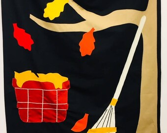 Decorative Flag: Fall Tree and Rake