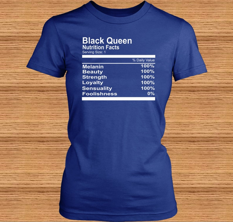 2b2fe87e259 Black Queen Nutrition Facts White Print T-shirts | Etsy