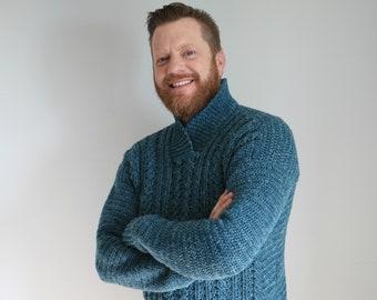 CROCHET PATTERN / Dapper Dad Pullover / PDF digital download / Mens Cabled Sweater