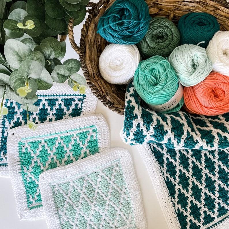 CROCHET PATTERN / Diamond Drift Dishcloth & Tea Towel Set image 0