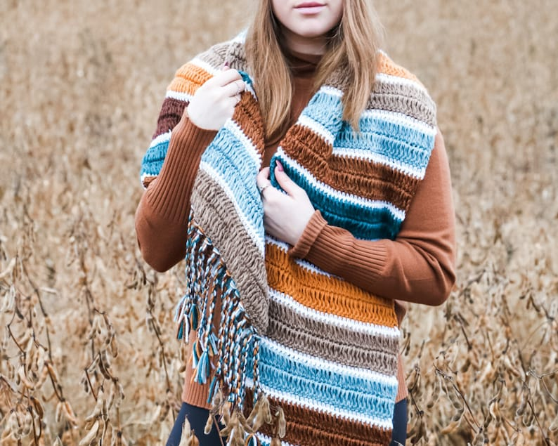 CROCHET PATTERN / Fall For You Blanket Scarf image 0