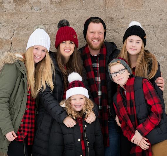 Crochet Pattern Buffalo Plaid Family Hat Set Etsy