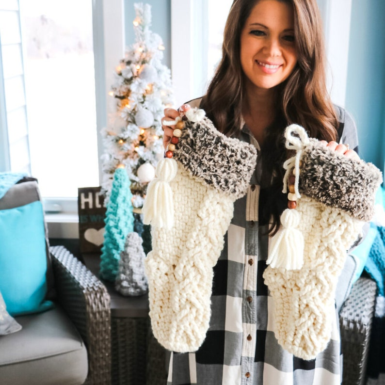CROCHET PATTERN / Fable Cable Christmas Stocking image 0