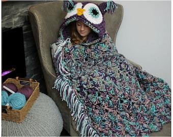CROCHET PATTERN Owl Blanket - pdf Digital Download - Bulky & Quick Owl Crochet Pattern by MJ's Off The Hook Designs