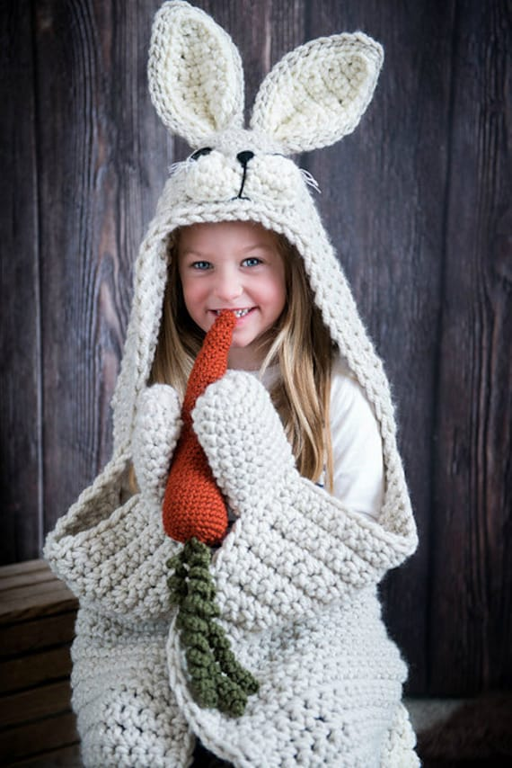 Woodland Bunny Blanket Crochet Pattern Hooded Woodland Etsy