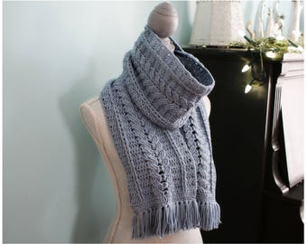 CROCHET PATTERN Cabled Scarf - Scarf Pattern - Crochet Scarf Pattern - Blissfull Cabled Scarf Crochet Pattern by MJ's Off The Hook Designs