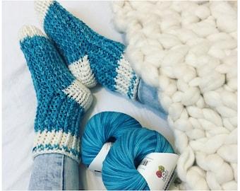 CROCHET PATTERN Slipper Socks - Crochet Pattern for Socks - Itty Bitty Ribbed Slipper Socks Crochet Pattern by MJ's Off the Hook Design