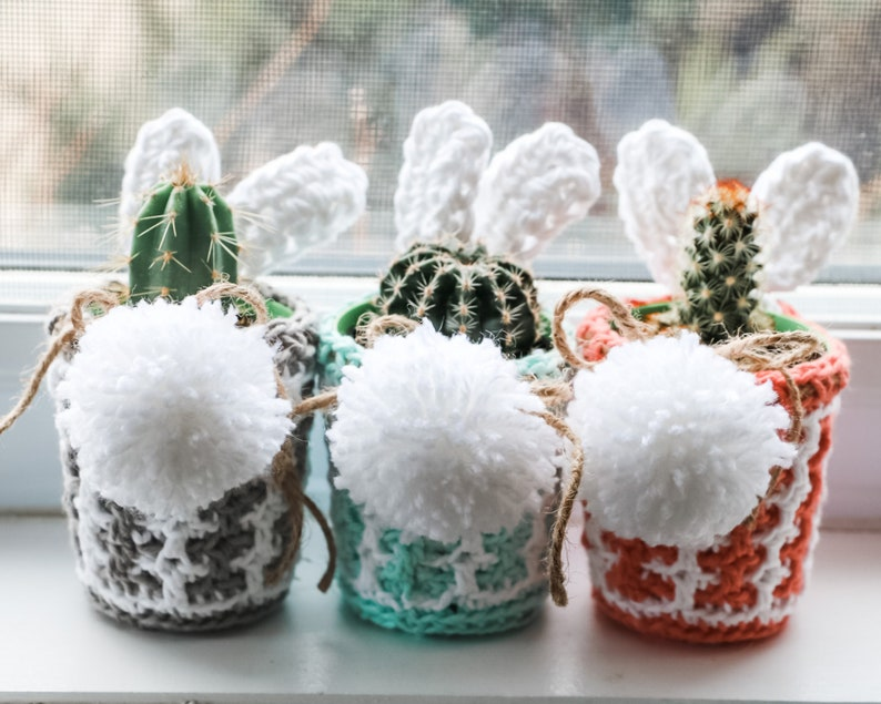 CROCHET PATTERN / Easter mosaic plant pot cover pattern image 0