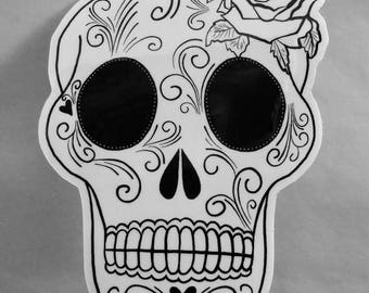 Black & White Sugar Skull Sticker