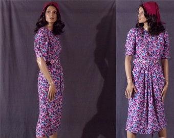 Vintage 1980s Dress - Floral Rayon Dress by Karin Stevens - 80s does 40s Floral Rayon Dress - Spring - Multi Color
