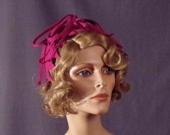 Vintage 1930s Hat - Hot Pink 1930s Abstract Hat - Sculpture Hat - Art - Film Noir - Girl Friday